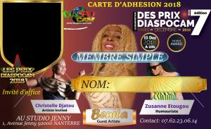 LA CARTE DE MEMBRE DU GROUPE DIASPOCAM 2018